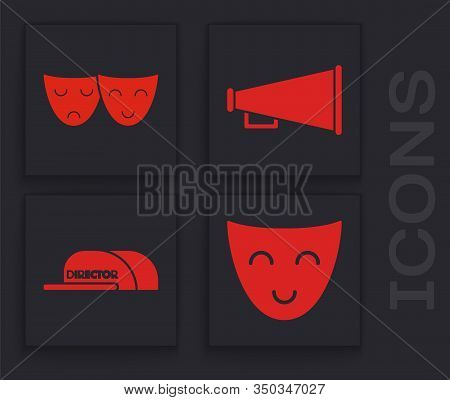 Set Comedy Theatrical Mask , Comedy And Tragedy Theatrical Masks , Megaphone And Cap With Inscriptio