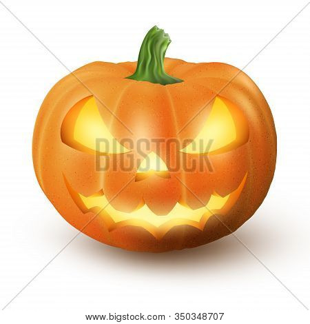 Lighten Jack O Lantern Glowing Halloween Realistic Smile Face Pumpkin With Candle Light Inside. Isol