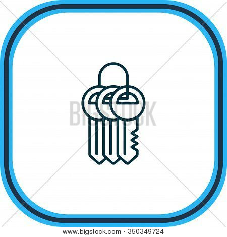 Vector Illustration Of Keychain Icon Line. Beautiful Protection Element Also Can Be Used As Key Coll