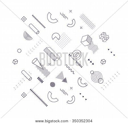 Geometric Shapes Trendy Graphic Elements For Memphis Design, Poster And Banner Decorate, Fashion And