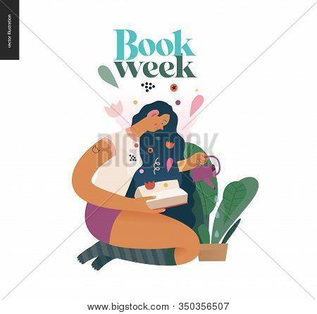 Watering Design Template -world Book Day Graphics -book Week Events. Modern Flat Vector Concept Illu