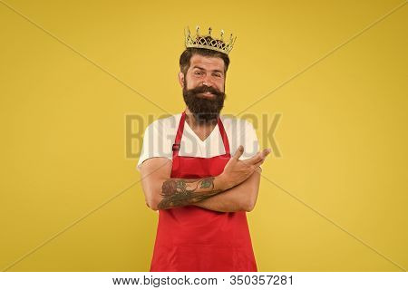 King Of Kitchen. Cook With Beard And Mustache Yellow Background. Royal Recipe. Man Mature Cook Wear