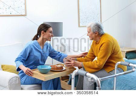 Care Worker Serving Dinner For Elderly Woman In Geriatric Hospice
