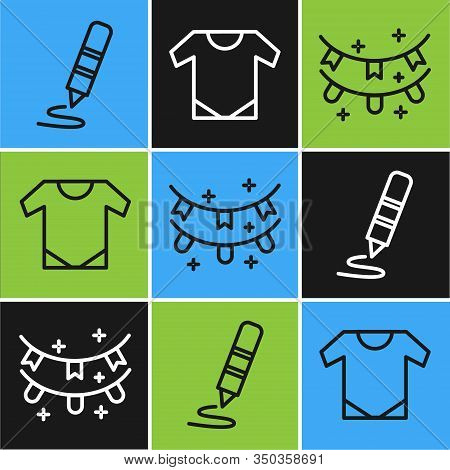 Set Line Wax Crayon For Drawing, Carnival Garland With Flags And Baby Onesie Icon. Vector