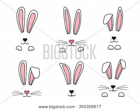 Easter Bunny Hand Drawn, Face Of Rabbits. Ears And Muzzle With Whiskers, Paws. Vector Illustration