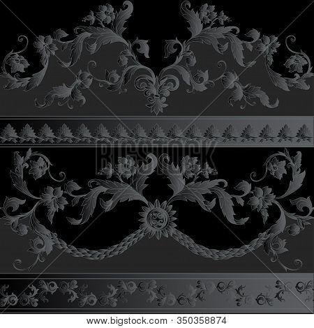 Seamless Pattern, Background In Baroque, Rococo, Victorian, Renaissance Style. Trendy Frolar Vintage
