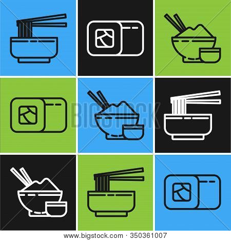 Set Line Asian Noodles In Bowl And Chopsticks, Rice In A Bowl With Chopstick And Sushi Icon. Vector