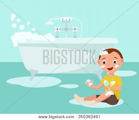 Happy Cheerful Smiling Boy In Bathroom Vector Illustration. Child With Bar Of Soap Sitting On Floor