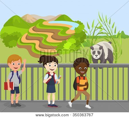 Children Excursion To Zoo Vector Illustration. Wild Cute Animal Panda In Open Air Behind Fence. Happ