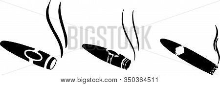 Cigar Icon Isolated On White Background Narcotic, Nicotine, Product, Quit