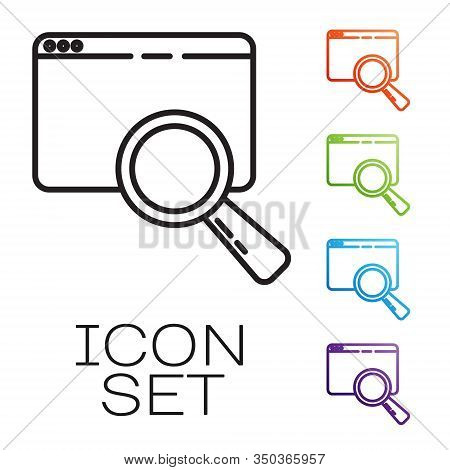 Black Line Search In A Browser Window Icon Isolated On White Background. Set Icons Colorful. Vector