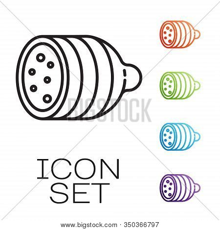 Black Line Salami Sausage Icon Isolated On White Background. Meat Delicatessen Product. Set Icons Co