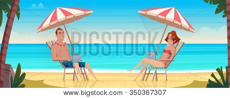 Young Couple Remote Flexible Workers With Laptops On Tropical Beach. Freelance Business People On Sa