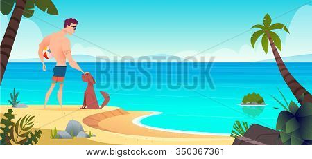 Man And His Dog Are Standing Together On A Wild Sandy Summer Beach. Summer Activities Concept