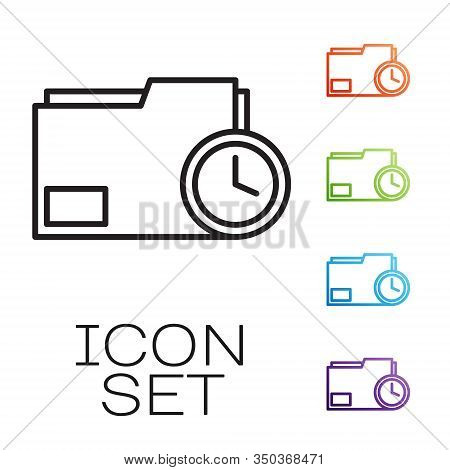 Black Line Document Folder With Clock Icon Isolated On White Background. Document And Countdown, Dea