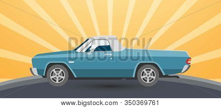 Vintage Retro Pickup Car Vector Illustration On Sun Rising Yellow Background For Promotion Or Old Au