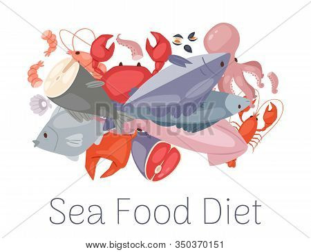 Seafood And Fresh Fish Diet From Lobster, Crab, Salmon Fish, Squid, Octopus, Shrimp, Shells On White
