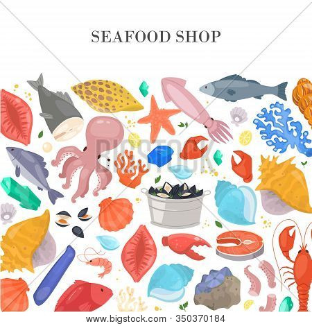 Seafood And Fish Shop Poster With Shells, Starfish, Corals, Octopus And Ocean Cockleshells, Shrimps