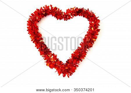 Red Heart Shaped Decoration Isolated On A White Background