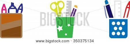 Stationery Box Icon Isolated On Background Uncovered, Vector, Work