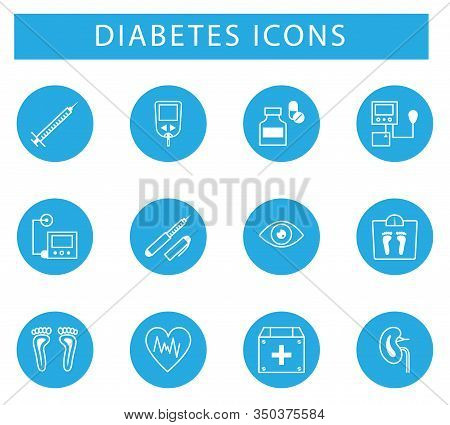 Diabetes And Blood Sugar Measurement Line Icons.medical And Diabetes And Hospital Symbols And Icons.