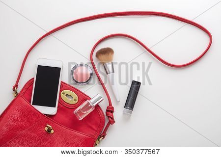 Red Woman Fashion Bag With Cosmetic, Perfume And Smartphone