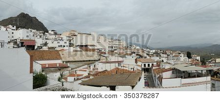Panorama Of The Hillside White Village Of Alora Andalusia Spain