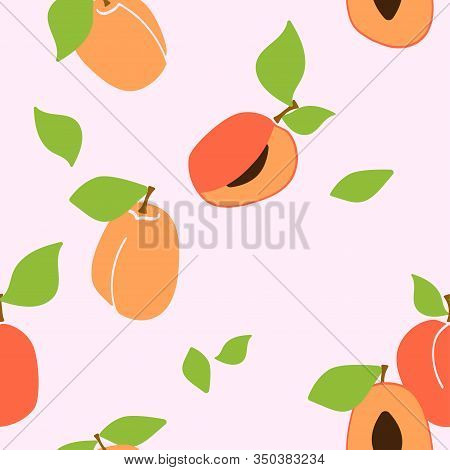 Vector Seamless Pattern With Apricot Pulp. Trendy Hand Drawn Textures. Modern Abstract Design For Pa