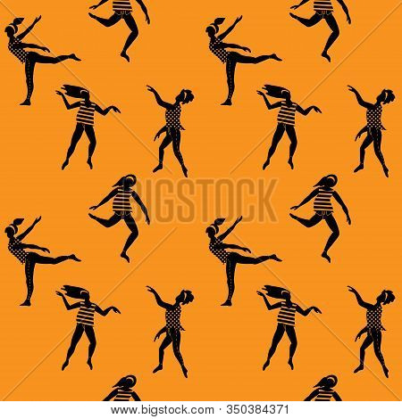Seamless Pattern With Young Women Dancing In Free Spontaneous Way. Simple Black Silhouettes On Yello