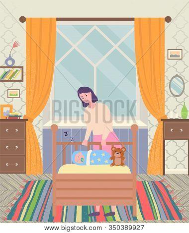 Mother With Little Baby Sleeping In Wooden Cradle. Mum And Newborn In Crib. Children Room Interior.