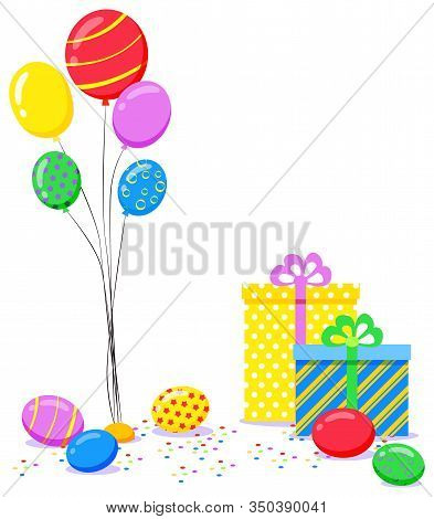 Balloons And Present Box, Photozone Accessory, Colorful Objects For Photoshooting. Postcard Decorate