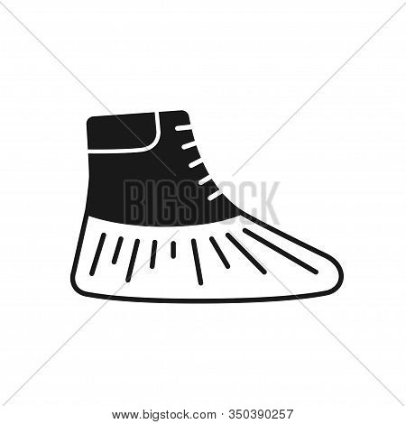 Shoe Covers Icon. Protective Medical Covers. Isolated Sign. Vector Illustration In Black Style On Wh