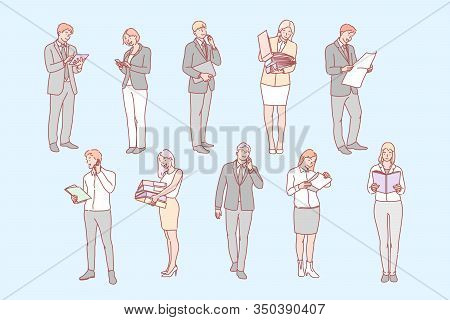 Business People Set Concept. Collection Of Business People, Company Managers And Clerks, Communicati