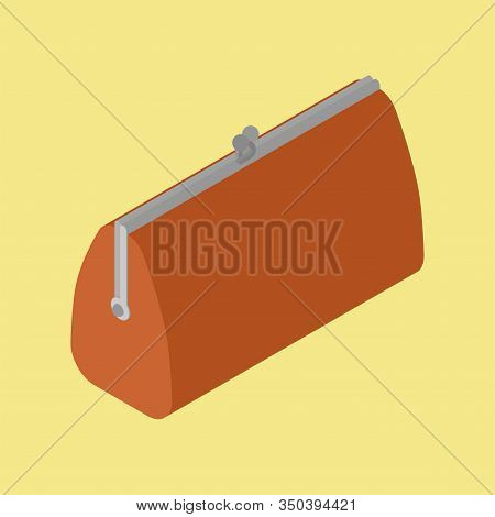 Retro Closed Wallet Isometric Isolated. Old Purse. Vector Illustration