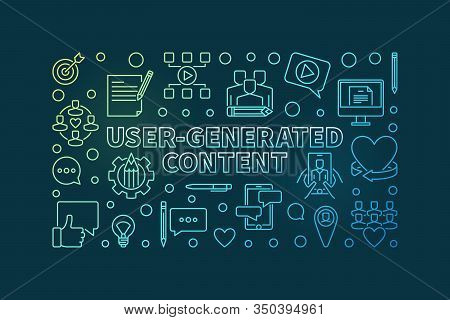 User-generated Content Outline Colorful Horizontal Banner - Vector Ugc Concept Thin Line Illustratio