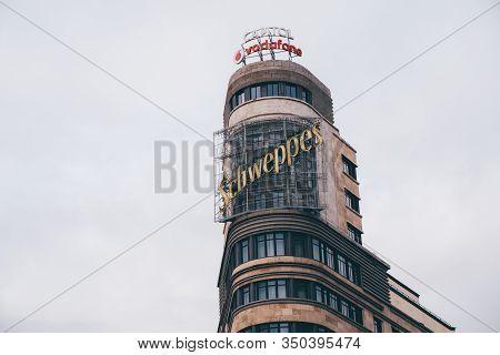 Madrid, Spain - January 25, 2020: The Edificio Carrion (schweppes) Building On The Gran Via Of Madri