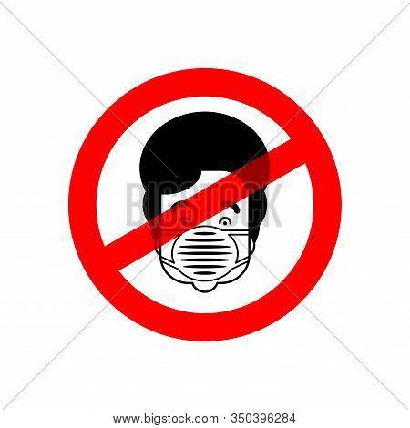 Stop Coronavirus. Red Road Forbidding Sign. Ban Man In Medical Mask. No Epidemic Disease