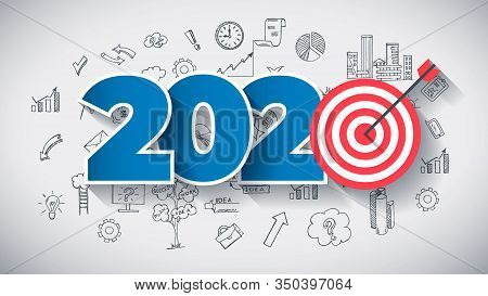 Year 2020 - Business Concept With Target. Hand Drawn In Red And Blue Colors Creative Text, On Hand D