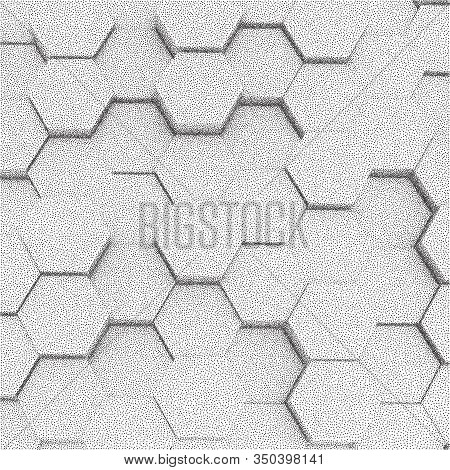 Hexagons Honeycomb Background Abstract Science Design. Dotwork Frame. Halftone Style Monochrome Grad