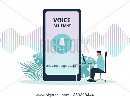Voice assistant background. Male character using voice control for his phone. Isolated vector illustration of voice remote with character and phone. Voice assistance