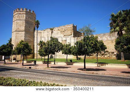 Jerez De La Frontera, Spain - August 20, 2008 - View Of The Castle Wall And Turret, Jerez De La Fron