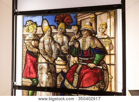 Troyes, France - August 31, 2018: Exhibition Of Beautiful Stained Glass Windows At Cite Du Vitrail I