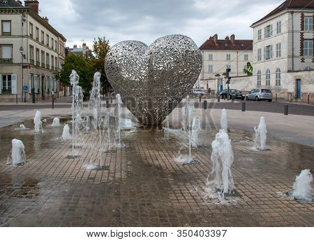 Troyes, France - August 31, 2018: The Heart Of Troyes Has Taken Pride Of Place On The Banks Of The F