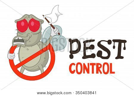 Funny Vector Illustration Of Pest Control Logo For Fumigation Business. Comic Locked Fly Surrenders.