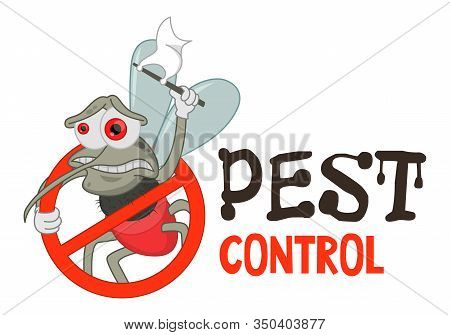 Funny Vector Illustration Of Pest Control Logo For Fumigation Business. Comic Locked Mosquito. Desig