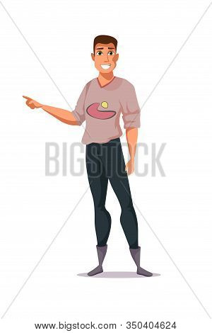 Young Man Pointing Gesture Vector Illustration. Smiling Boy In Casual Clothes Cartoon Character. Han