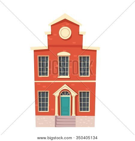 Urban Retro Colonial Style Building Cartoon Vector Illustration. Old Red Brick Residential And Gover