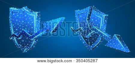 Set Of Security Shields, Arrows Of Growth And Downtrend. Money Flow Protection Concept. Low Poly, Wi