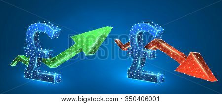 Pound Symbol, Arrows Set, Green Growth, And Red Downtrend. Low Poly, Wireframe 3d Vector Illustratio