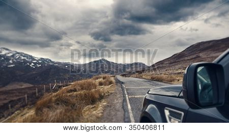 Empty road in Scottish Highlands